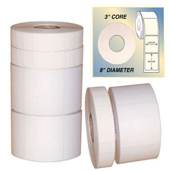 White Thermal Labels - 1 1/2 x 1 1/2