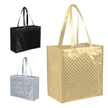 Metallic Gloss Patterned Tote - detailed view