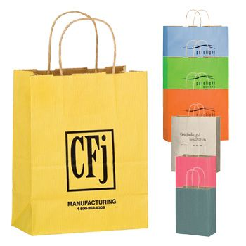 Imprinted Matte Paper Shopping Bags - detailed view