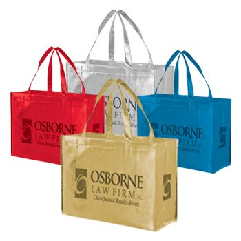 Imprinted Metallic Gloss Grocery Bags - thumbnail view