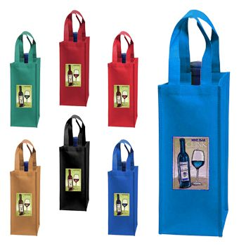 Imprinted Wine Collection Bags - detailed view