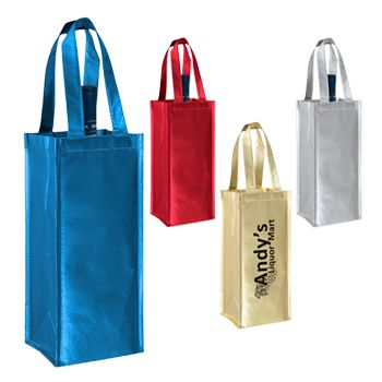 Imprinted Metallic Wine Collection Bags - 5 X 5 X 12