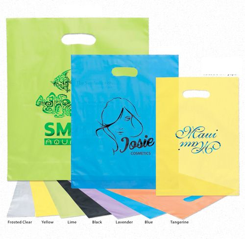 Imprinted Frosted Die Cut Bags - 15 X 18 X 4