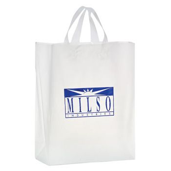 Imprinted Frosted Softloop Shoppers - 8 X 4 X 11