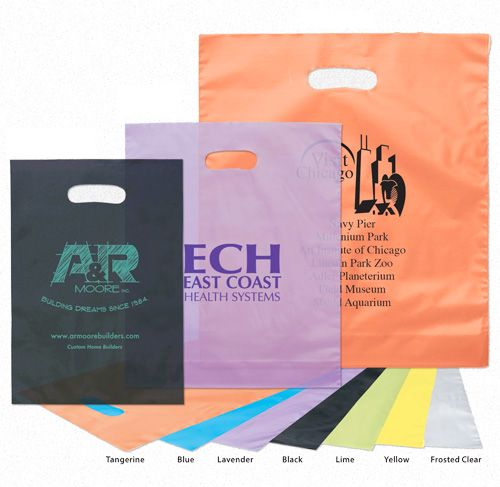 Imprinted Frosted Die Cut Bags - thumbnail view
