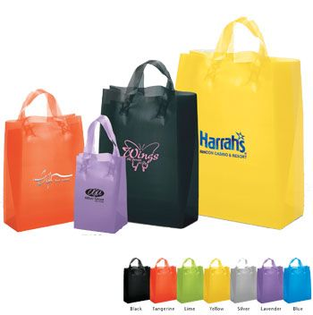 Imprinted Frosted Colored Shoppers