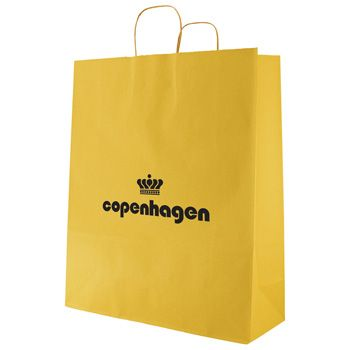 Custom Printed Stripe Kraft Shopping Bag