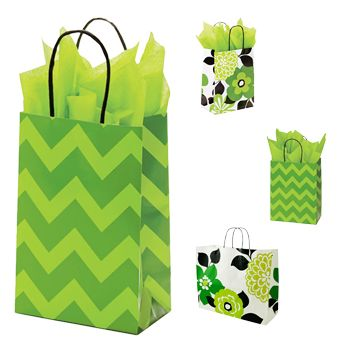 Bold Floral/Chevron Paper Shopping Bags