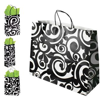 Bold Scroll Paper Shopping Bags - thumbnail view