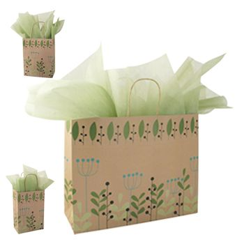 Leaves & Berries/Kraft Paper Shop Bags