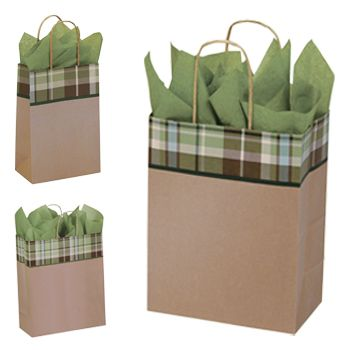 Kensington Plaid/Kraft Paper Shop Bags