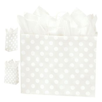 Polka Dot Pearl Paper Shopping Bags