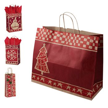 Homespun Christmas/Kraft Paper Shop Bags