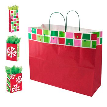 Xmas Check/Snowflake Bling Paper Shop Ba