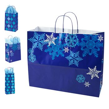 Snowflake Swirl/Waterfall Paper Shop Bag - thumbnail view