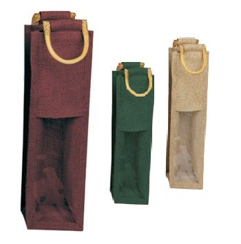 Jute Wine Bags W/Wooden Handles - detailed view