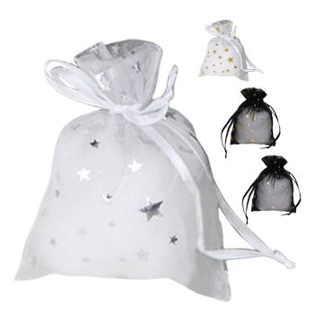 Metallic Star Print Organza Bag