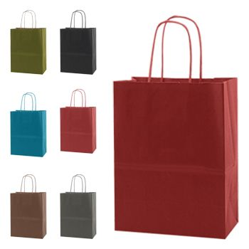Solid Tinted Kraft Shopping Bags - thumbnail view