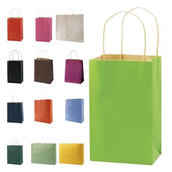 Stripped Tinted Kraft Shopping Bags