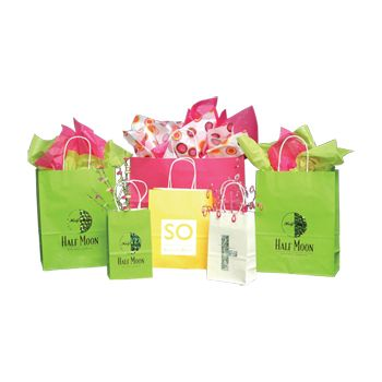 Imprinted Tints On White Kraft Bags