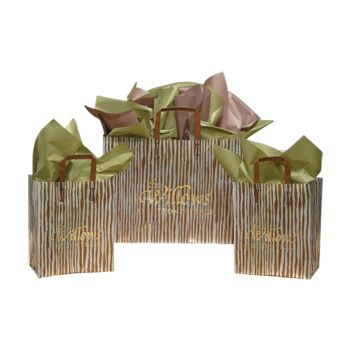 Imprinted Frosted Bag With Brown Bamboo