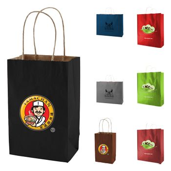 Imprinted Tinted Kraft Shopping Bags - icon view