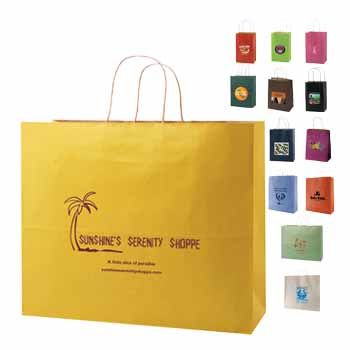Imprinted Striped Tinted Shopping Bags - thumbnail view