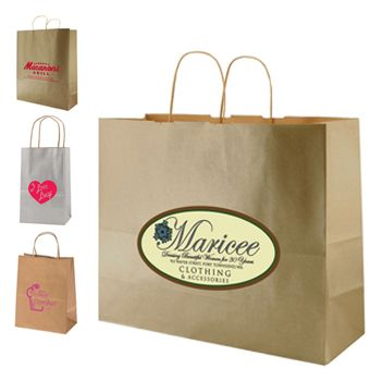 Imprinted Metal Kraft Shopping Bags - thumbnail view