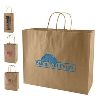 Imprinted Natural Kraft Shopping Bags - thumbnail view