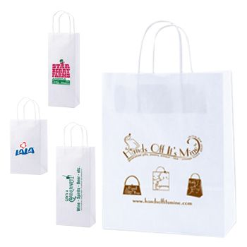 Imprinted White Kraft Shopping Bags - thumbnail view