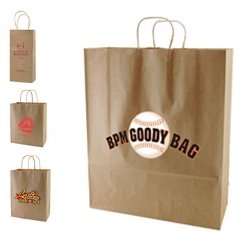 Imprinted Recycled Kraft Shopping Bags - detailed view