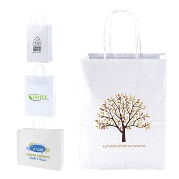 IMPRINTED RECYCLED WHITE SHOPPING BAGS - thumbnail view