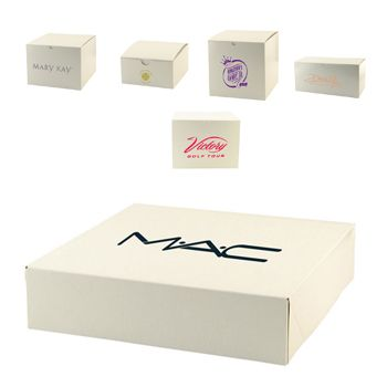 Imprinted White Gloss Gift Boxes - thumbnail view