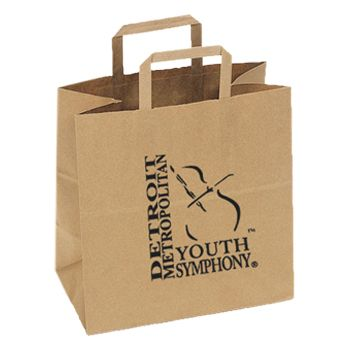 Imprinted Flat Handle Shopping Bags - detailed view