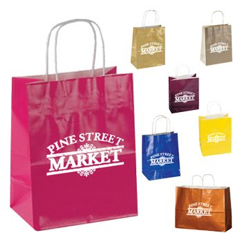 Imprinted High Gloss Paper Shopping Bags