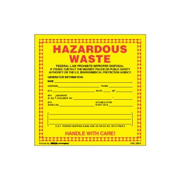 Waste D.O.T. Labels - 6 x 6