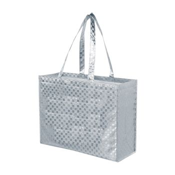 Metallic Gloss Patterned Tote - 12 X 8 X 13