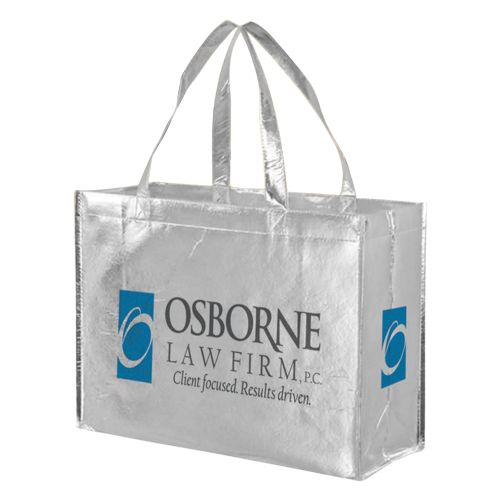Imprinted Metallic Gloss Grocery Bags - detailed view 1