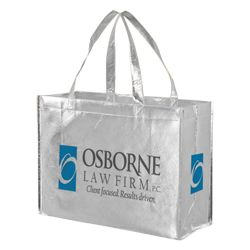 Imprinted Metallic Gloss Grocery Bags - 16 X 6 X 12