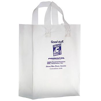Imprinted Frosted Softloop Shoppers - 10 X 5 X 13