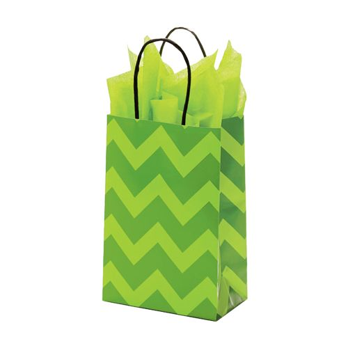 Bold Floral/Chevron Paper Shopping Bags - detailed view 1