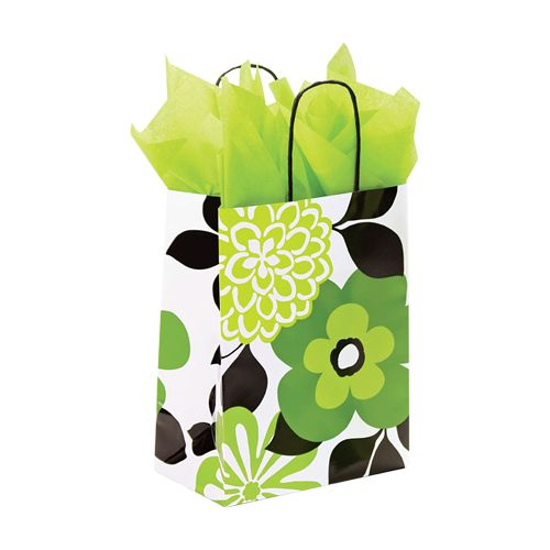 Bold Floral/Chevron Paper Shopping Bags - detailed view 2