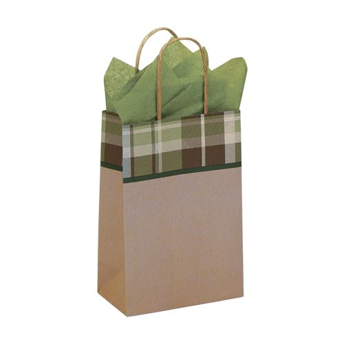 Kensington Plaid/Kraft Paper Shop Bags - detailed view 1