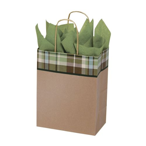 Kensington Plaid/Kraft Paper Shop Bags - detailed view 2