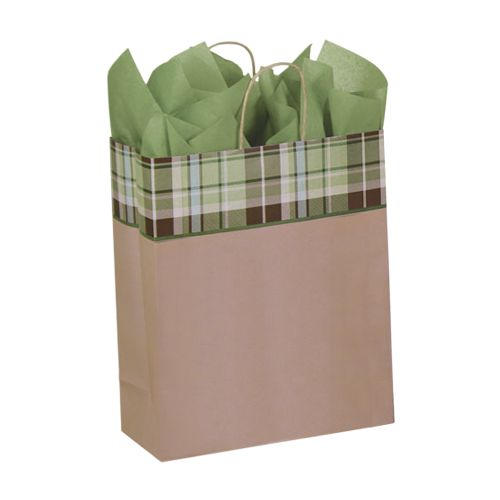 Kensington Plaid/Kraft Paper Shop Bags - detailed view 3