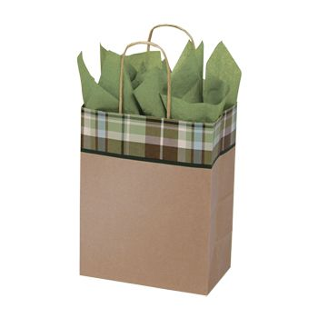 Kensington Plaid/Kraft Paper Shop Bags - thumbnail view 2