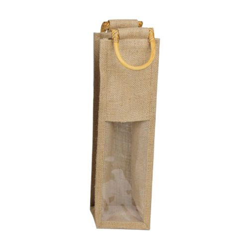 Jute Wine Bags W/Wooden Handles - detailed view 1