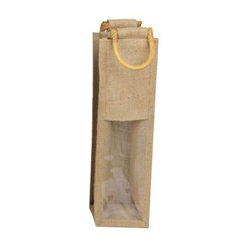 Jute Wine Bags W/Wooden Handles - thumbnail view 1