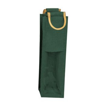 Jute Wine Bags W/Wooden Handles - thumbnail view 2
