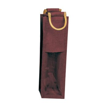 Jute Wine Bags W/Wooden Handles - thumbnail view 3